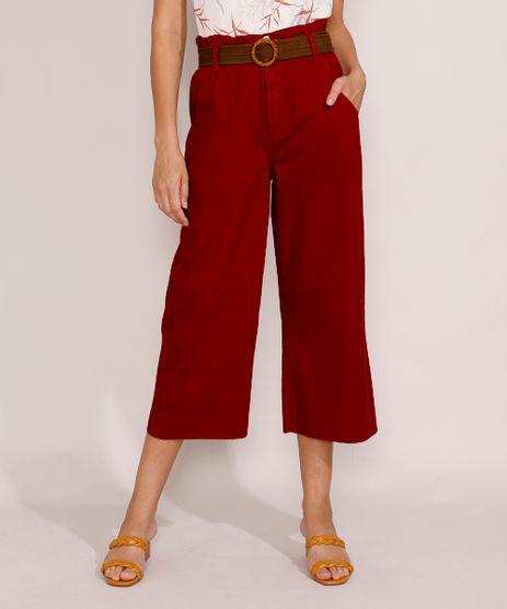 Calca-de-Sarja-Feminina-Pantacourt-Clochard-Cintura-Super-Alta-com-Cinto-Vermelha-Escuro-9985803-Vermelho_Escuro_1