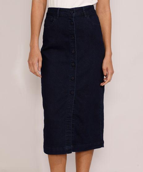 Saia-Jeans-Feminina-Midi-com-Botoes-Azul-Escuro-9985650-Azul_Escuro_1