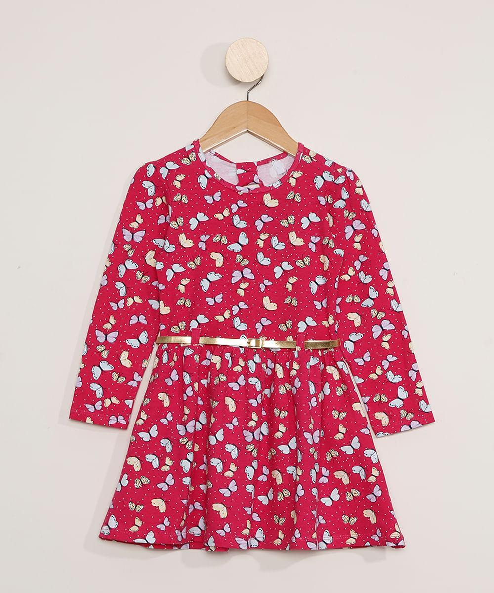 Vestido Infantil Manga Longa Estampado de Borboletas com Cinto Pink