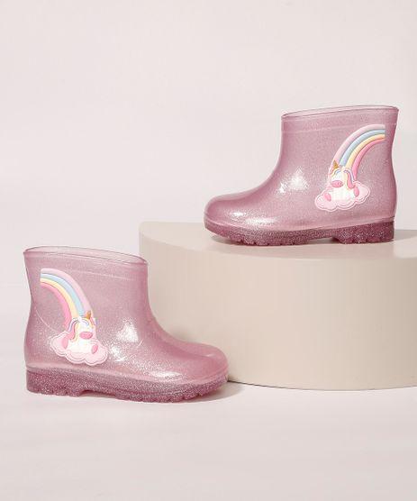Galocha-Infantil-LueLua-Transparente-Unicornio-e-Arco-Iris-com-Glitter-Rosa-9987642-Rosa_1