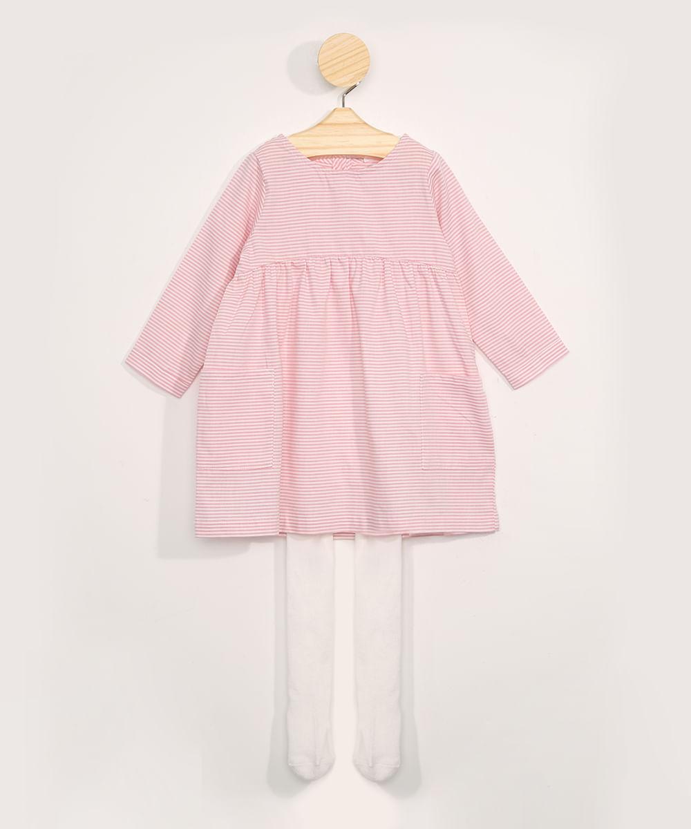 Vestido Infantil Listrado Manga Longa Decote Redondo + Meia Calça Off White