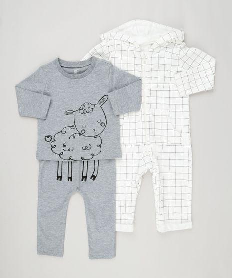 Conjunto-Infantil-de-Macacao-Estampado-Off-White---Camiseta-Ovelha-Manga-Longa---Calca-em-Algodao---Sustentavel-Cinza-Mescla-8959981-Cinza_Mescla_1