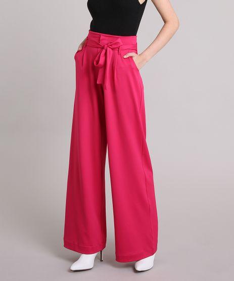 Calca-Feminina-Pantalona-de-Malha-com-Faixa-para-Amarrar-Pink-9253251-Pink_1