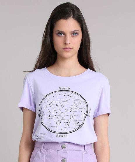T-shirt-Feminina-Manga-Curta-com-Constelacoes--Lilas-9251624-Lilas_1