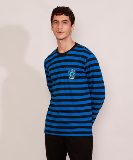 Camiseta-Masculina-Listrada-Harry-Potter-Corvinal-Manga-Longa-Gola-Careca-Azul-9986229-Azul_1