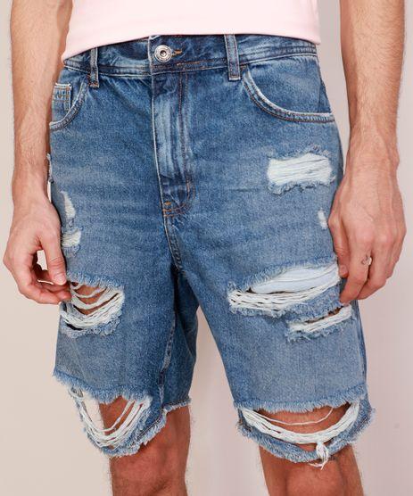 Bermuda-Jeans-Masculina-Destroyed-Reta-Azul-Escuro-9980149-Azul_Escuro_1