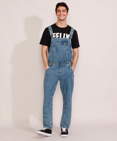 Macacao-Jeans-Masculino-Marmorizado-com-Bolsos-Azul-Medio-9985768-Azul_Medio_1