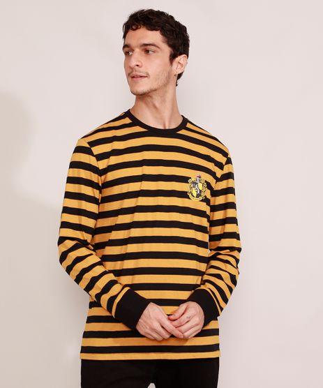 Camiseta-Masculina-Listrada-Harry-Potter-Lufa-Lufa-Manga-Longa-Gola-Careca-Amarela-9986230-Amarelo_1
