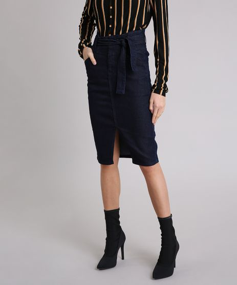 Saia-Jeans-Feminina-Midi-com-Fenda-e-Faixa-para-Amarrar-Azul-Escuro-9223879-Azul_Escuro_1