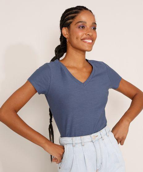 Camiseta-Feminina-Basica-Manga-Curta-Flame-Decote-V-Azul-1-8525926-Azul_1_1