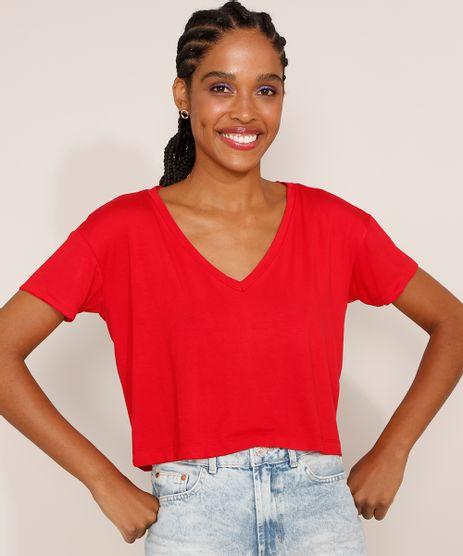Camiseta-Feminina-Basica-Cropped-Manga-Curta-Decote-V-Vermelha-9973881-Vermelho_1