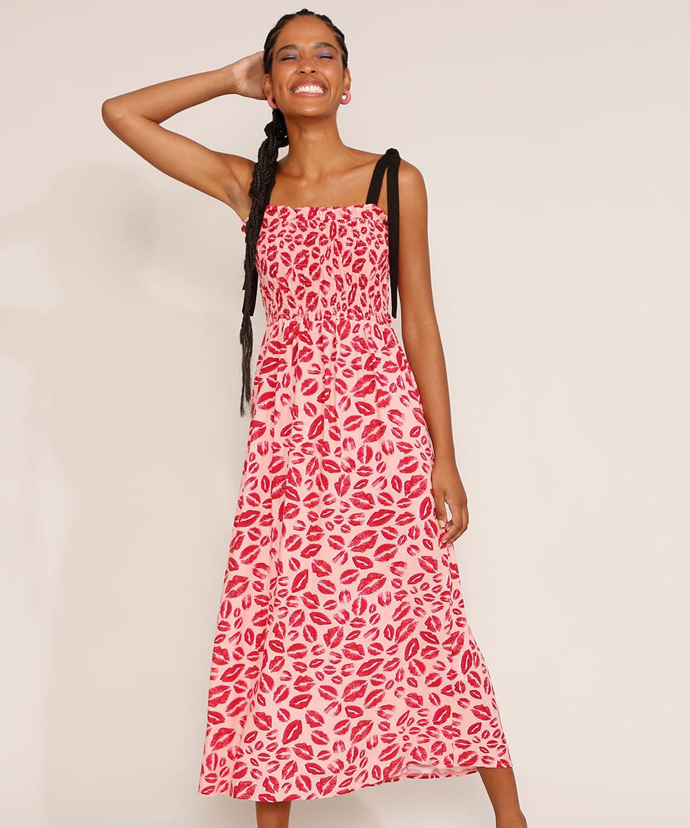 Vestido Feminino Midi Estampado de Beijos com Lastex Alça Laço Rosa Claro