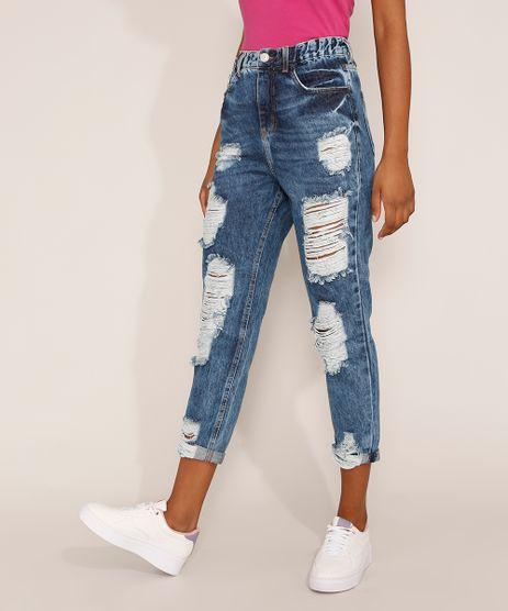 Calca-Jeans-Feminina-Mom-Cropped-Cintura-Super-Alta-Destroyed-Marmorizada-Azul-Escuro-9976721-Azul_Escuro_1