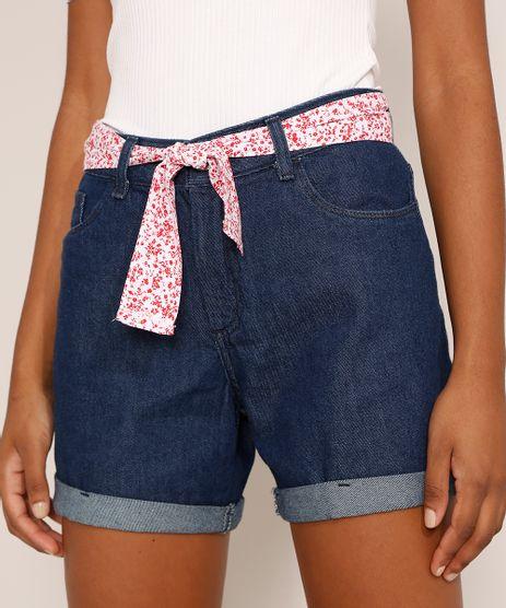 Short-Jeans-Feminino-Midi-Cintura-Media-com-Faixa-para-Amarrar-Estampada-Azul-Escuro-9982918-Azul_Escuro_1