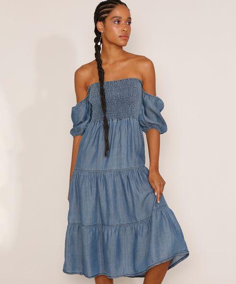 Vestido-Jeans-Feminino-Midi-Ombro-a-Ombro-com-Lastex-e-Recorte-Manga-Bufante-Azul-Medio-9981880-Azul_Medio_1