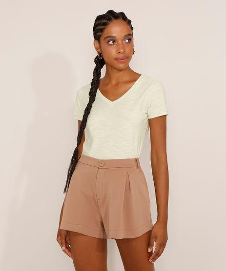 Camiseta-Feminina-Basica-Manga-Curta-Flame-Decote-V-Verde-Claro-8525926-Verde_Claro_1_1