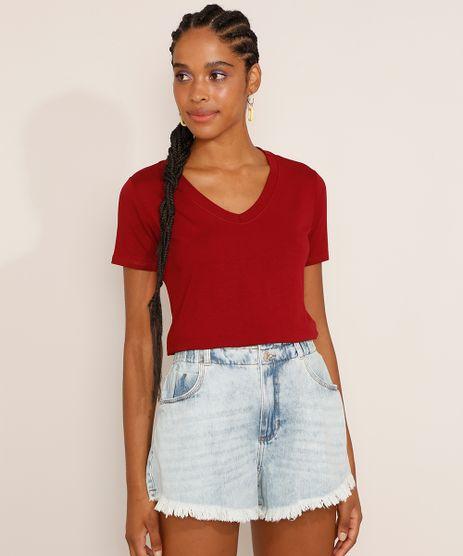 Camiseta-Feminina-Basica-Manga-Curta-Decote-V-Vermelha-Escuro-9551021-Vermelho_Escuro_1