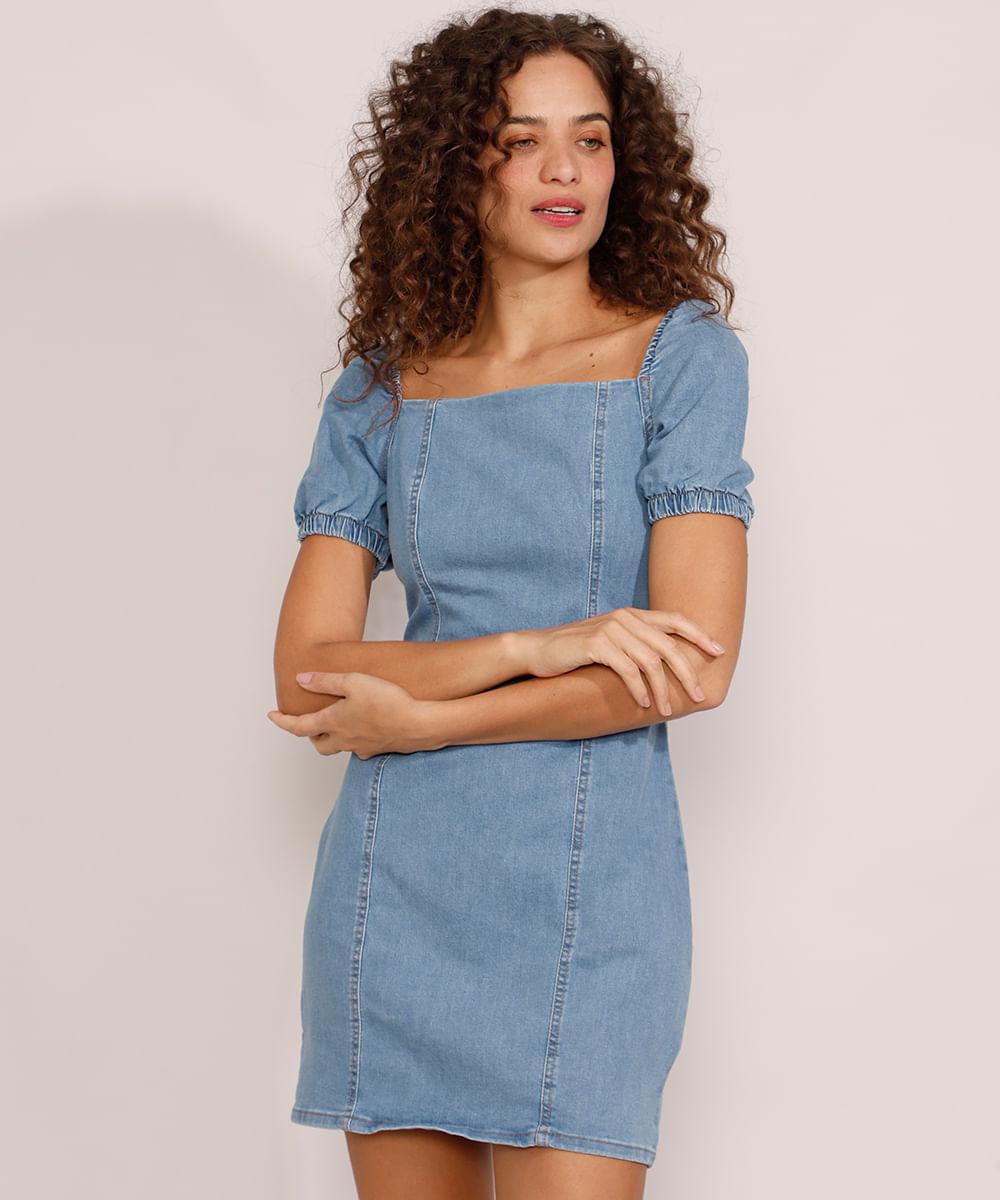 Vestido Jeans Feminino Curto com Recortes Manga Bufante Azul Médio