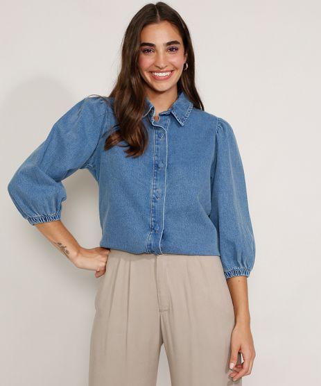 Camisa-Jeans-Feminina-Manga-Bufante-Azul-Medio-9978883-Azul_Medio_1