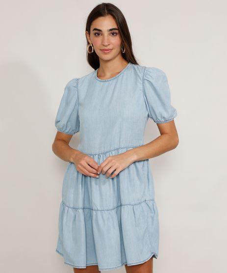 Vestido-Jeans-Feminino-Curto-com-Recortes-Manga-Bufante-Azul-Claro-9978886-Azul_Claro_1