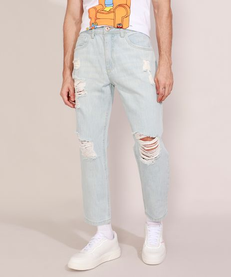 Calca-Jeans-Masculina-Tapered-Destroyed-Azul-Claro-9978685-Azul_Claro_1