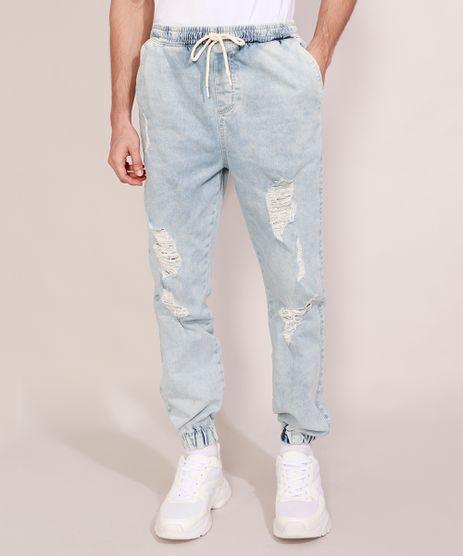 Calca-Jeans-Masculina-Jogger-Slim-Destroyed-Marmorizada-com-Cordao-Azul-Claro-9978687-Azul_Claro_1