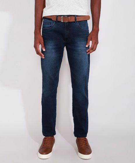 Calca-Jeans-Masculina-Slim-com-Cinto-Azul-Escuro-9985976-Azul_Escuro_1