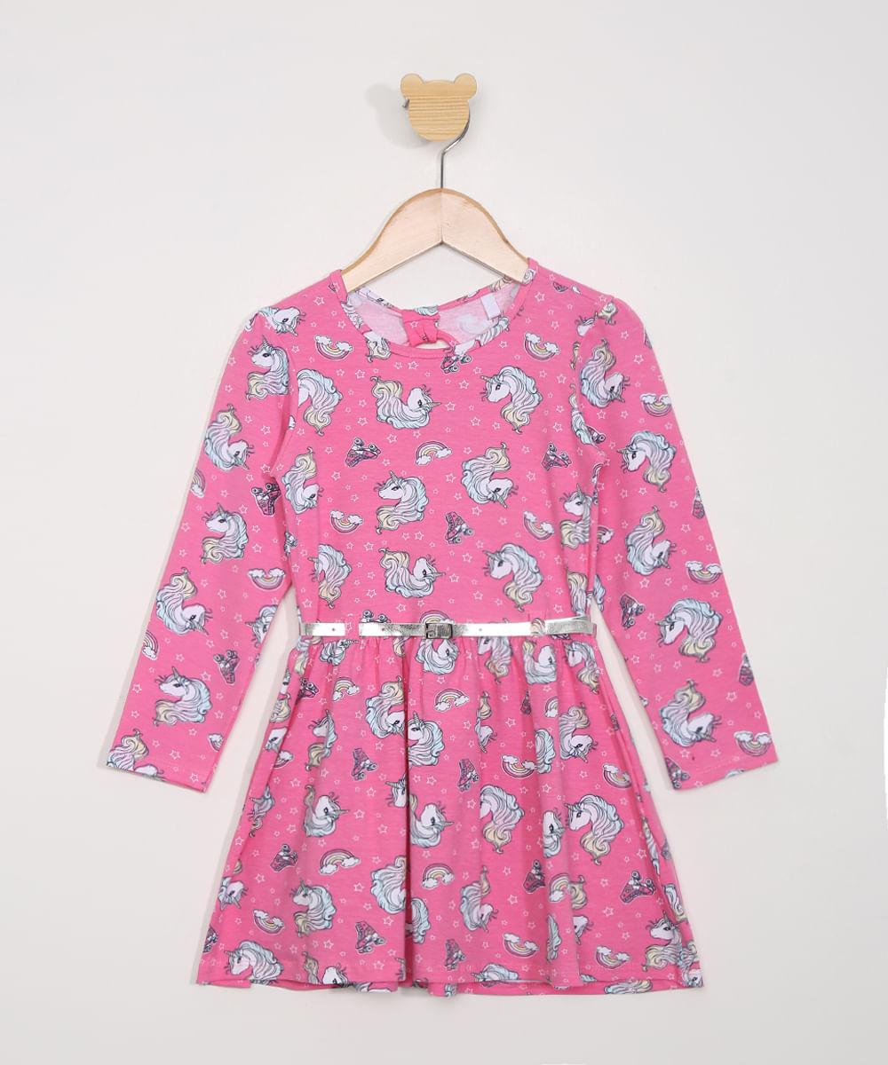 Vestido Infantil Manga Longa Estampado Unicórnio com Cinto Rosa
