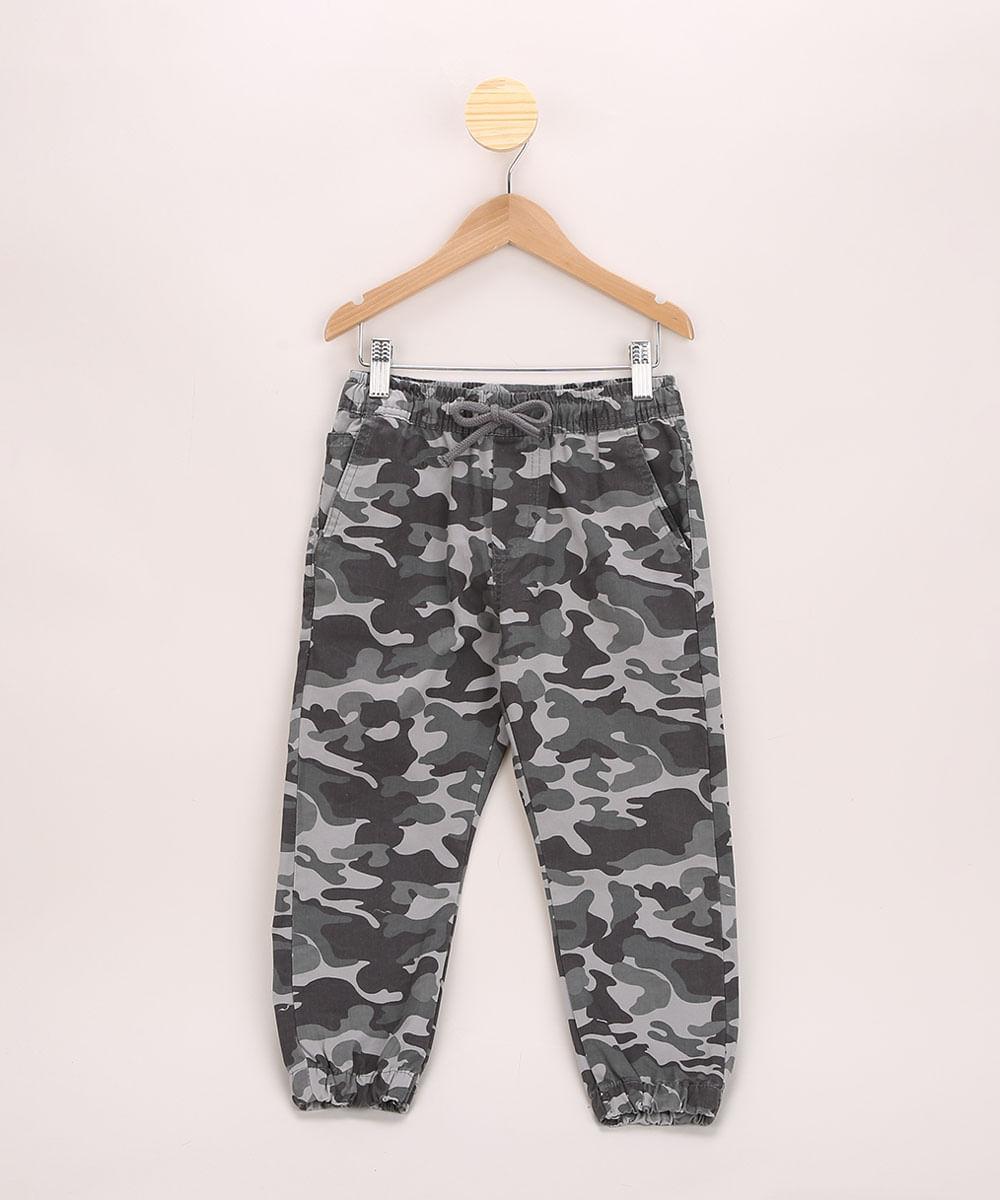 Calça de Sarja Infantil Jogger Estampada Camuflada Chumbo