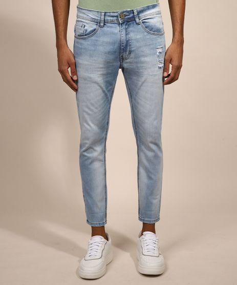 Calca-Jeans-Masculina-Skinny-Cropped-Destroyed-Azul-Claro-9982497-Azul_Claro_1