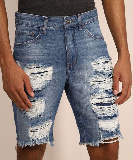 Bermuda-Jeans-Masculina-Slim-Destroyed-Azul-Medio-9981485-Azul_Medio_1