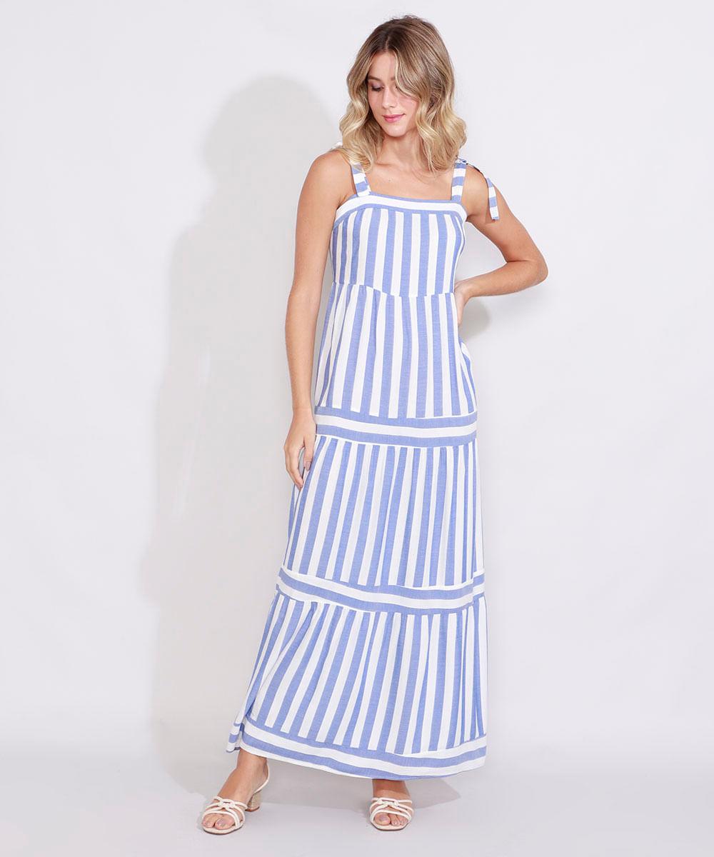 Vestido Feminino Longo Listrado Alça Média Decote Reto Azul