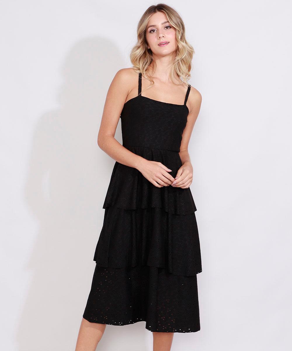 Vestido de Laise Feminino Midi com Camadas Alça Fina Decote Reto Preto