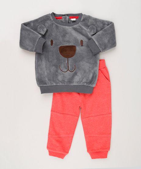 Conjunto-Infantil-Blusao-Urso-em-Fleece-Cinza---Calca-em-Moletom-em-Algodao---Sustentavel-Vermelha-8946779-Vermelho_1