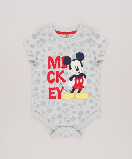 Body-Infantil-Mickey-Estampado-de-Poas-com-Bordado-Manga-Curta-Gola-Redonda-em-Algodao---Sustentavel-Cinza-Mescla-8942680-Cinza_Mescla_1