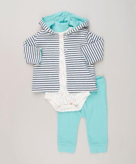 Conjunto Infantil de Casaco com Capuz Cinza + Body Estampado Manga Longa  Bege + Calça em Ribana Verde Claro 7da9cbfbaea