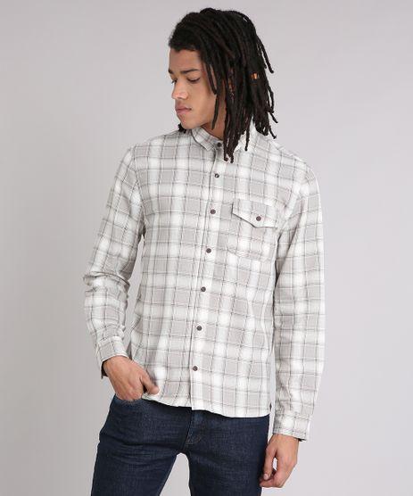 Camisa-Masculina-Xadrez-Manga-Longa-Kaki-9117426-Kaki_1