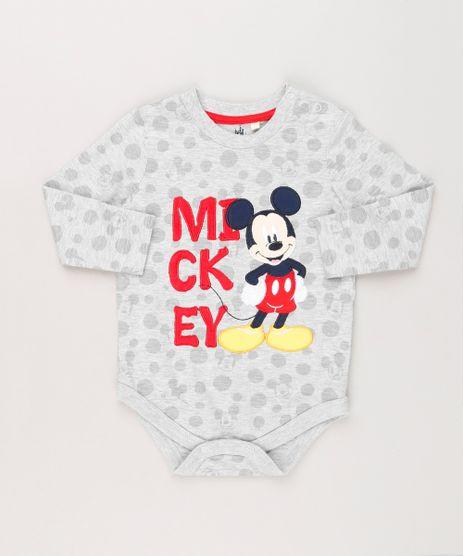 Body-Infantil-Mickey-Estampado-de-Poas-com-Bordado-Manga-Longa-Gola-Redonda-em-Algodao---Sustentavel-Cinza-Mescla-8942678-Cinza_Mescla_1