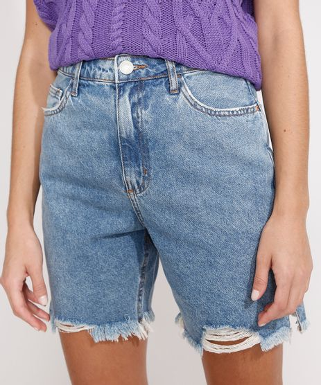 Bermuda-Jeans-com-Barra-Destroyed-Cintura-Super-Alta-Azul-Medio-9989214-Azul_Medio_1