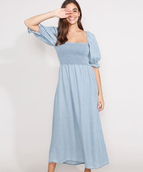 Vestido-Jeans-com-Lastex-Midi-Manga-Bufante-Azul-Claro-9981877-Azul_Claro_1