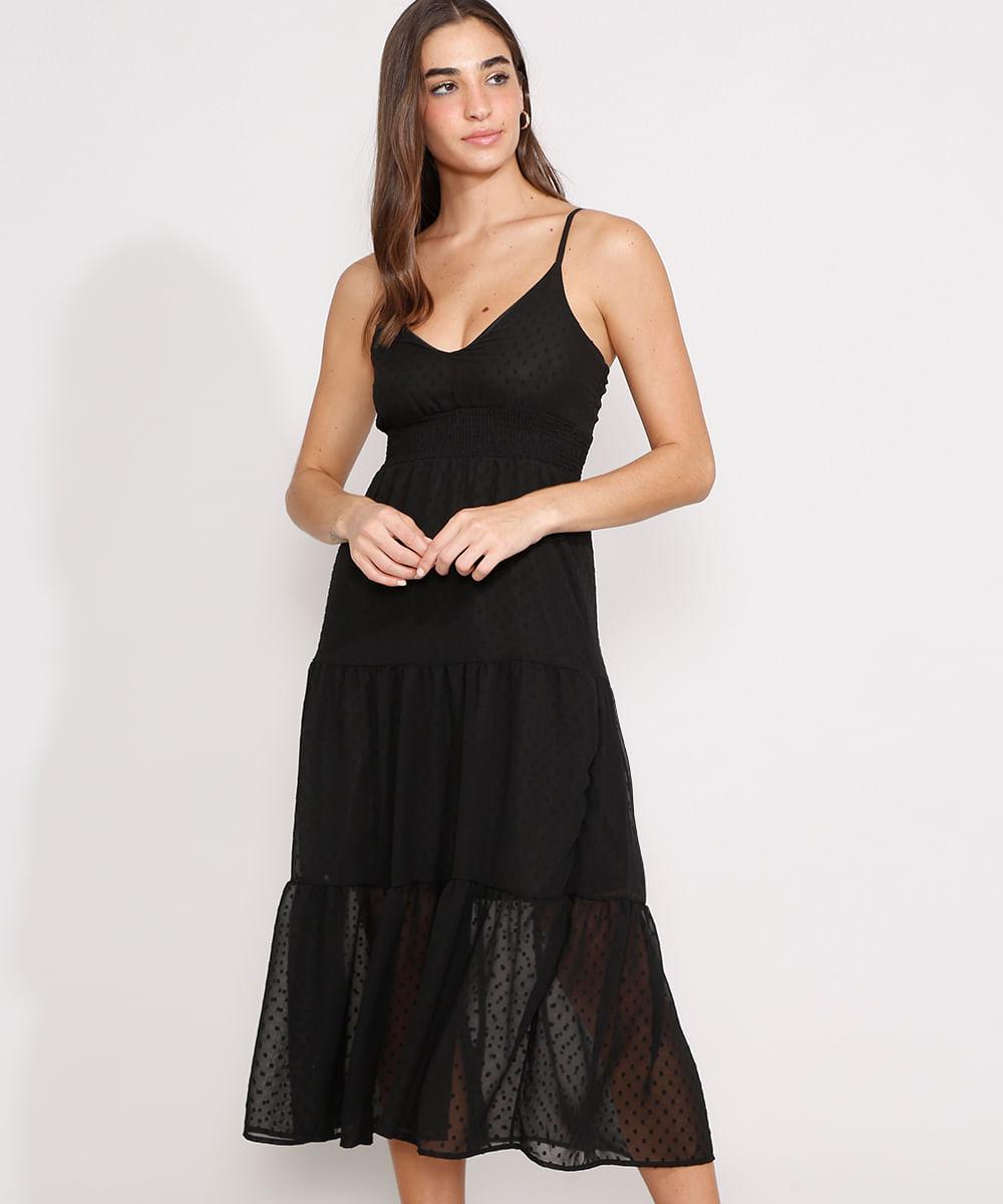 Vestido Texturizado de Poá com Recortes Midi Alça Fina Preto
