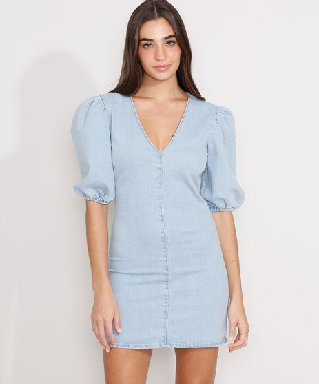 Vestido-Jeans-com-Recorte-Curto-Manga-Bufante-Azul-Claro-9989695-Azul_Claro_1