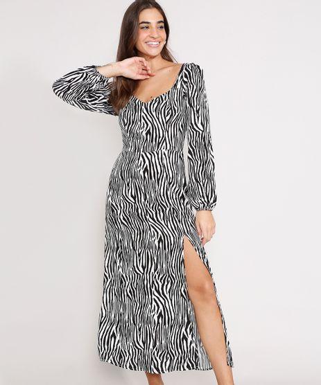 Vestido-de-Viscose-Estampado-Animal-Print-Zebra-com-Fenda-Midi-Manga-Bufante-Preto-9987752-Preto_1