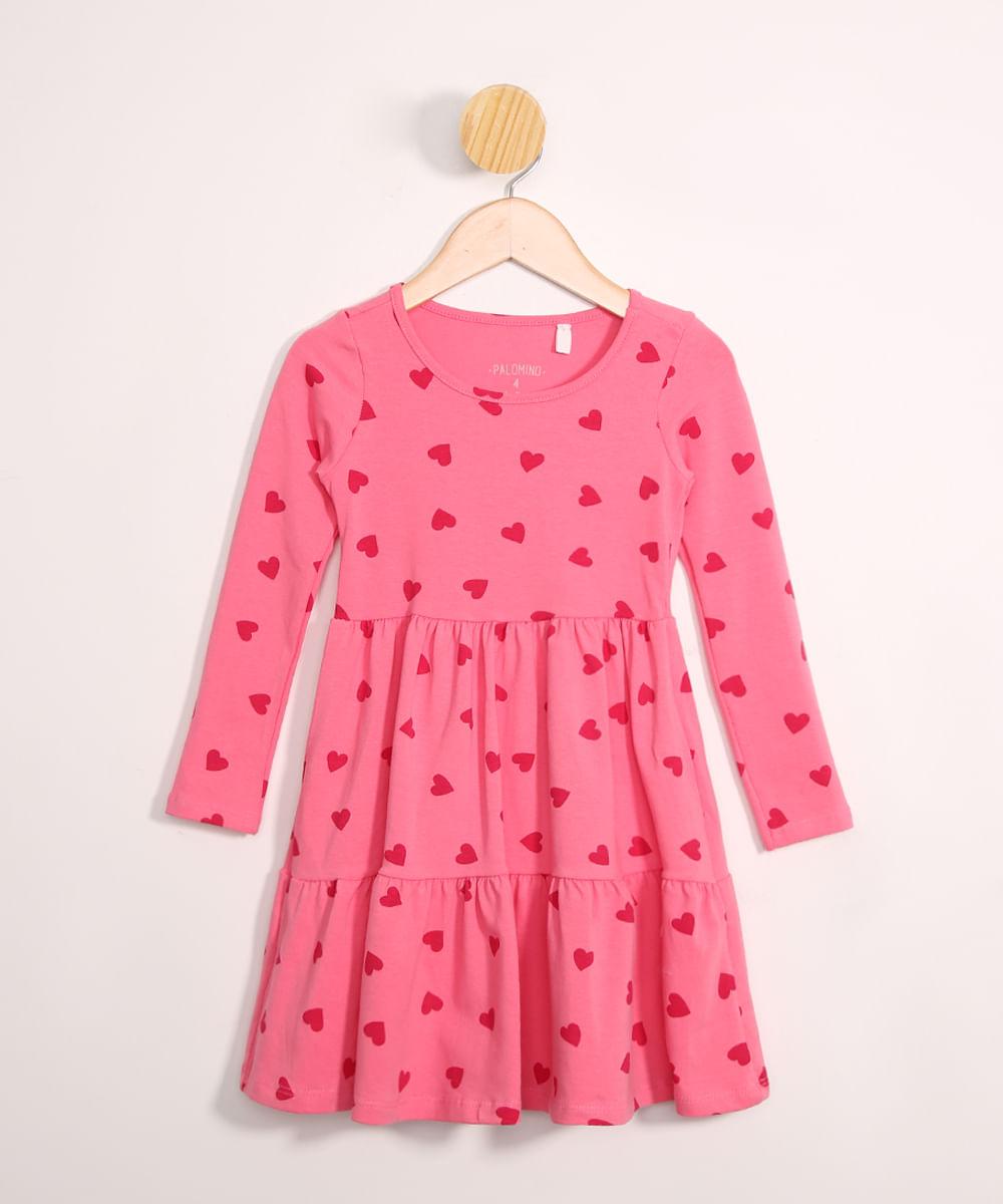 Vestido Infantil Estampado de Corações Manga Longa Rosa