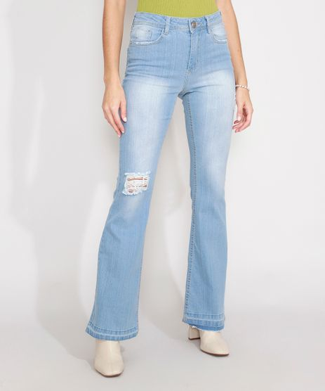 Calca-Flare-Jeans-Destroyed-com-Barra-Desfiada-Cintura-Alta-Azul-Claro-9988076-Azul_Claro_1