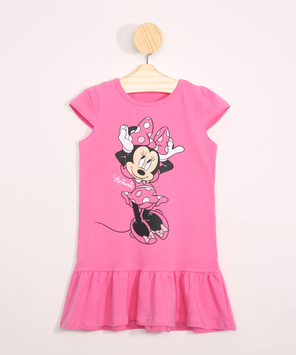 Vestido Infantil Minnie Manga Curta com Babados Pink