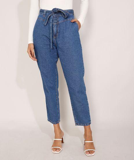 Calca-Clochard-Jeans-Cintura-Super-Alta-com-Cinto-Azul-Escuro-9988931-Azul_Escuro_1