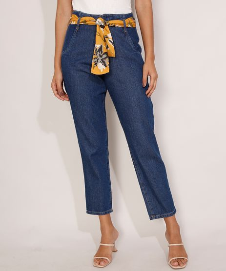 Calca-Mom-Jeans-Cintura-Super-Alta-com-Lenco-Azul-Escuro-9986190-Azul_Escuro_1