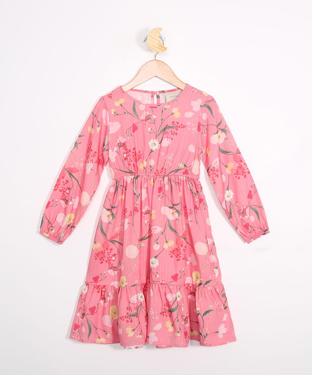 Vestido Infantil Estampado Floral Manga Bufante Rosa