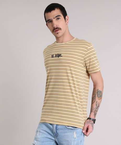 Camiseta-Masculina-Listrada--St--Tripe--Manga-Curta-Gola-Careca-Amarela-9195971-Amarelo_1